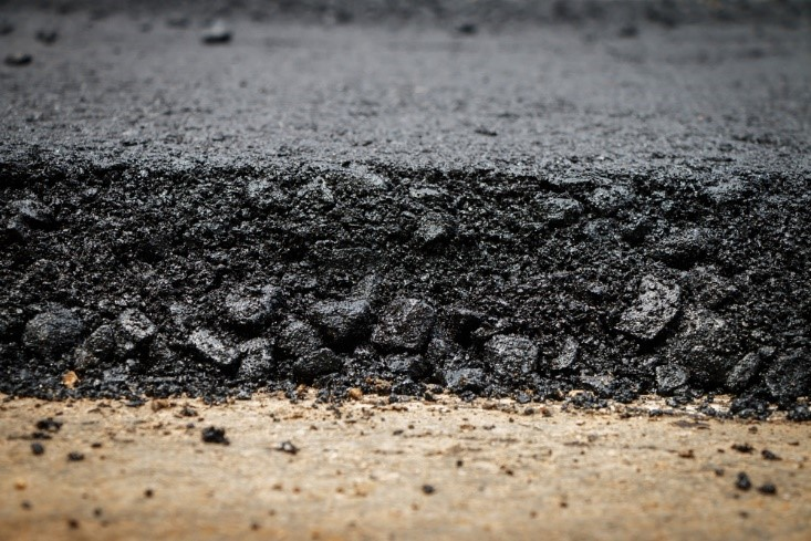 Close-up of asphalt edge at a road under construction